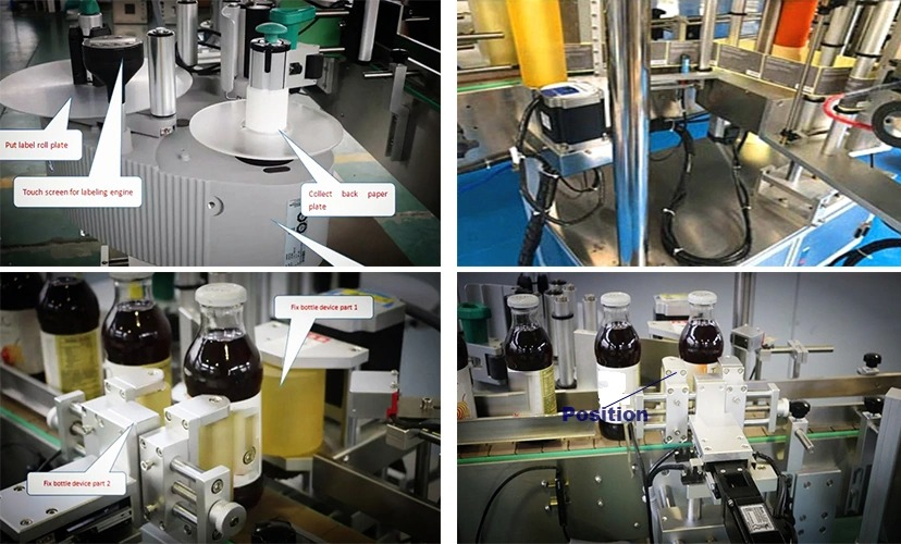 Sticlă rotundă de fabricație, mașină de etichetat cu poziție fixă automată de vânzare
