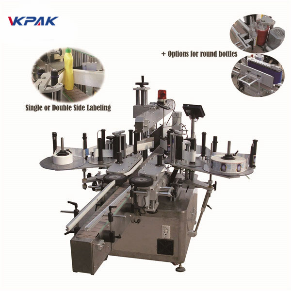 Mașină automată de etichetare liniară automată completă pentru sticlă de sticlă